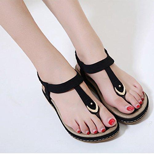Btrada Flops Exquisite Casual Sandals Flat Flip Shoes On Womens Black Slip rrwq6T1