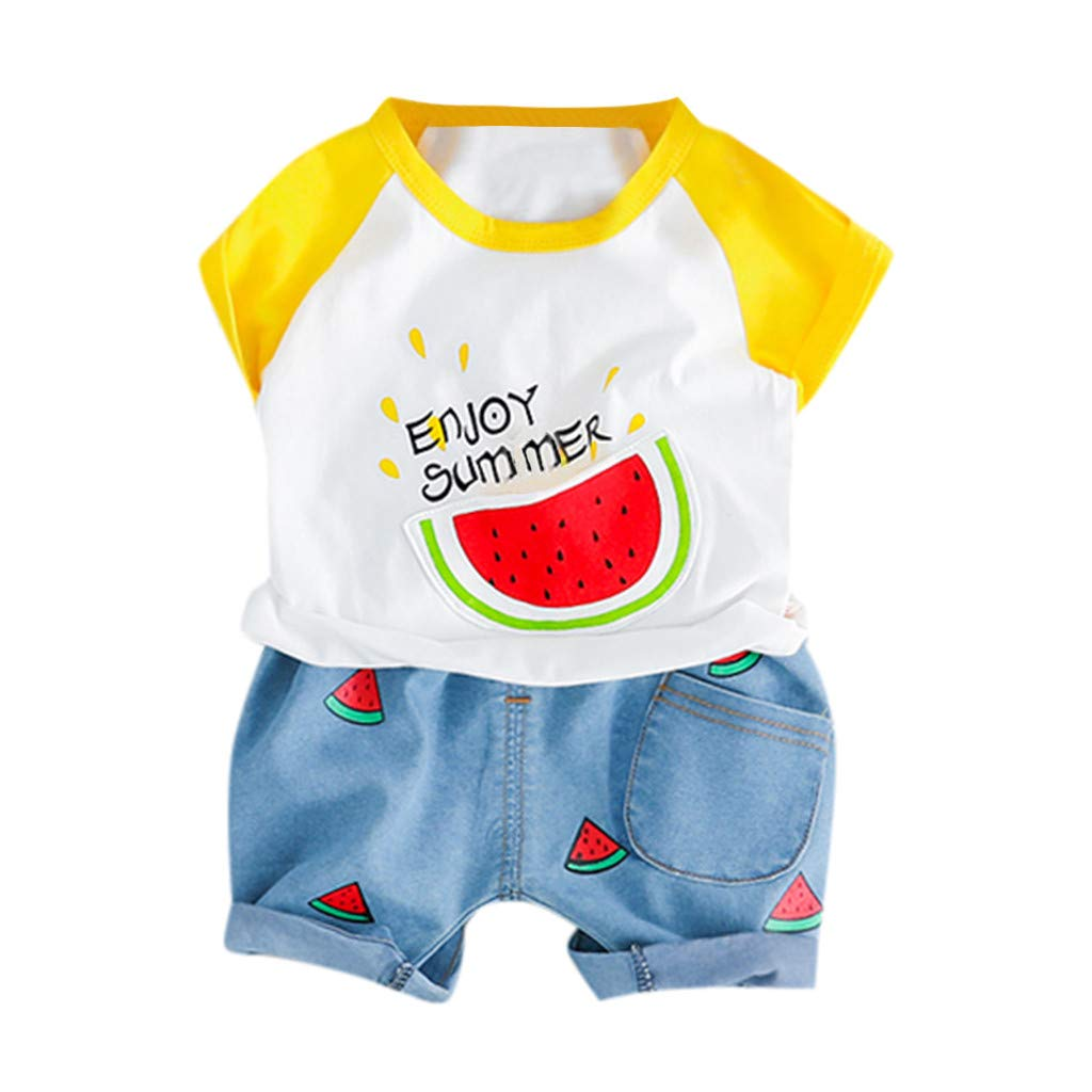 2pcs Baby Boysgirls Outfit, Kids Watermelon Letter Print Summer Tops t-Shirt Short Pants Casual Outfits (3-6 Months, Yellow)