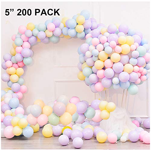5 Inch 200 Pack Pastel Latex Balloons Rainbow Macaron Candy Party Balloons For Wedding Birthday Baby Shower Holiday Christmas Party Decorations Supplies Women Girls Kids Shiny Random Color - Pastel 5 Inch
