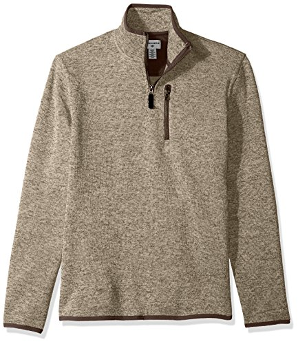 Dockers Men's Quarter Zip Sweater Fleece, Sierra Brown Heather, - Fleece Mens Quarter Zip