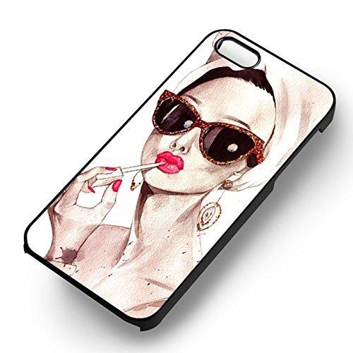 Chic Girl Art Paint pour Coque Iphone 7 Case (Noir Boîtier en plastique dur) Q2M2KA