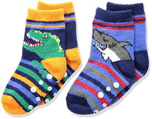 (Jefferies Socks Boys' Little Dinosaur and Shark Fuzzy Non-Skid Slipper Socks 2 Pair Pack, Multi, Toddler)