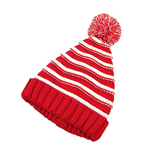 White Striped Beanie (Tinksky Classic Warm Adorable Kids Striped Knit Winter Pom Pom Hat Beanie Hats for Christmas - L (Red White))