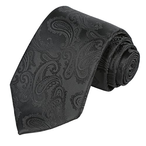 KissTies Mens Tie Solid Black Paisley Necktie + Gift Box ()