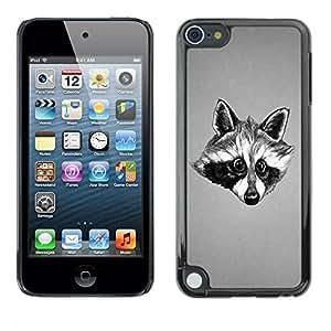 TopCaseStore / la caja del caucho duro de la cubierta de protección de la piel - Black & White Friendly Raccoon - Apple iPod Touch 5