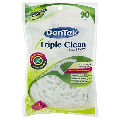 DenTek Extra Strong Triple Clean Floss Picks, Mouthwash Blast, 90 Count (Pack of 4)