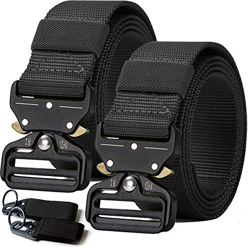 2PCS Tactical Belt,Military Style Webbing Riggers Web Gun Belt with Heavy-Duty Quick-Release Metal Buckle With 2 -