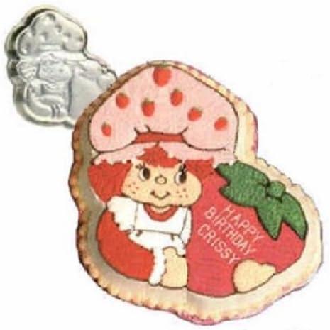 Amazon Com Vintage 1981 Wilton Strawberry Shortcake Birthday Cake Pan 502 3835 Novelty Pans Kitchen Dining