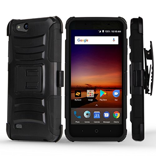 ZTE ZFive C LTE Z558VL Case - Dual Layer [Heavy Duty Protection] Rugged Kickstand Case (Black) with Rotatable Belt Holster Clip and Atom Cloth for ZTE ZFive C LTE Z558VL (10 For Net Zte Phone Cases)