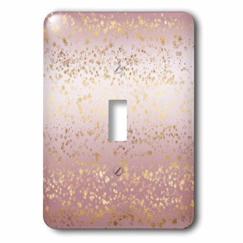 (3dRose PS Stars - Image of Pink Gold Stars Confetti Ombre - Light Switch Covers - single toggle switch)