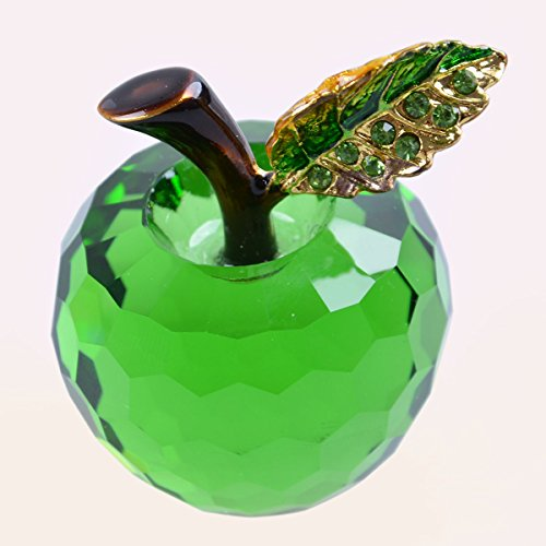 Longwin 40Mm  1 6 Inch  Crystal Apple Figurine Paperweight Green