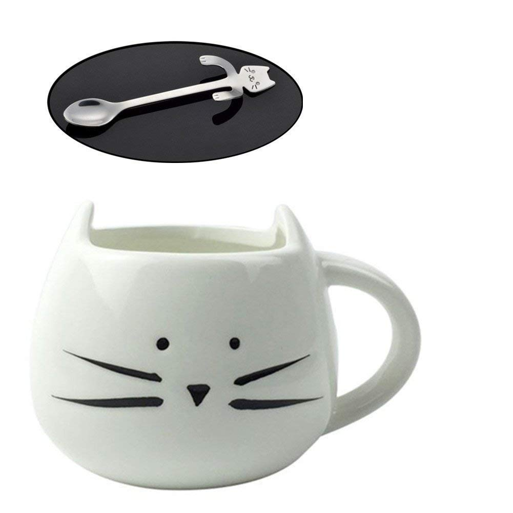 Cute Cat Tea Cup with Fish Filter Cute Cat Glass Cup with Stainless Steel Coffee Spoon Mini Cat As Seen On TV