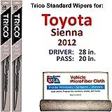 Wiper Blades for 2012 Toyota Sienna Driver & Passenger Trico Steel Wipers Set of 2 Bundled with Bonus MicroFiber Interior Car Cloth