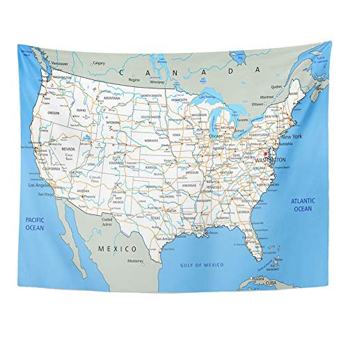 Emvency Tapestry Polyester Fabric Print Home Decor USA High Detailed United States of America Road Map with Labeling City Texas Wall Hanging Tapestry for Living Room Bedroom Dorm 60x80 Inches (A Detailed Map Of The State Of Florida)
