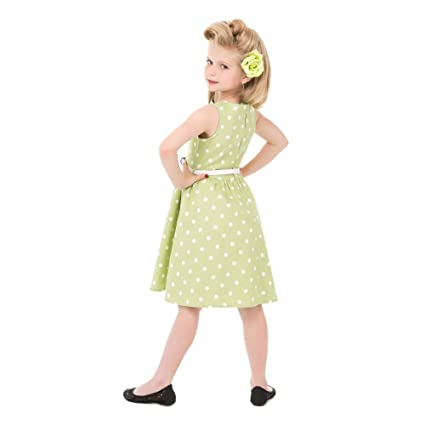 Lindy Bop Mini Audrey Childrens Tarragon Polka Dot Dress (Size 11-12 Years): Amazon.co.uk: Clothing