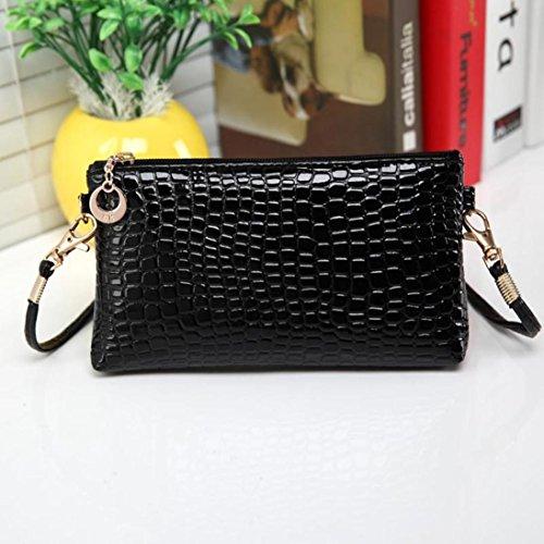 Gotd Bag Women Crocodile Leather Messenger Crossbody Clutch Shoulder Handbag (Black)