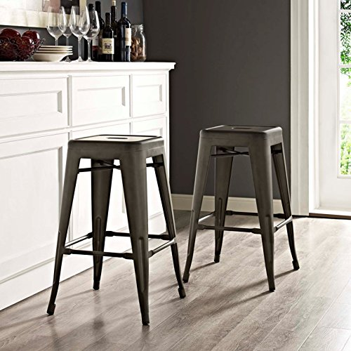 Modern Urban Industrial Distressed Antique Vintage Counter Stool Chair ( Set of 2), Brown, Metal by America Luxury - Stools (Image #1)