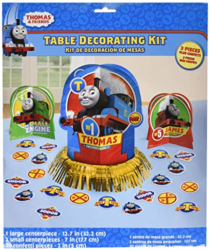 Table Party Birthday Centerpiece (Amscan Thomas The Tank Engine Centerpiece Table Decorating Kit 23 Count Birthday Party)