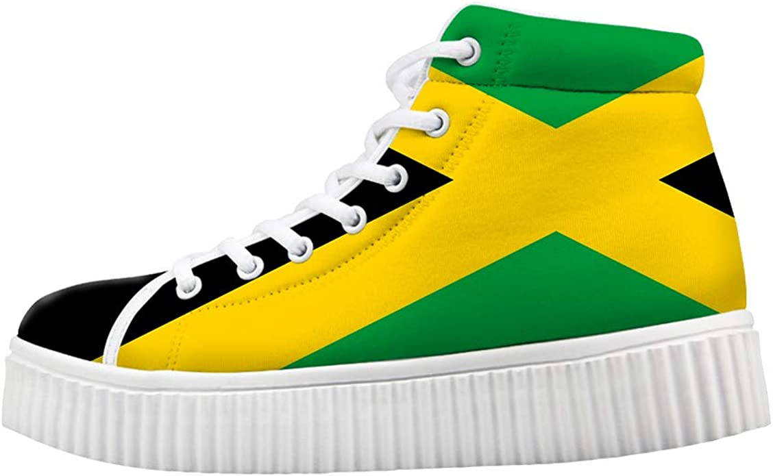 Owaheson Boys Girls Casual Lace-up Sneakers Running Shoes Jamaica Flag