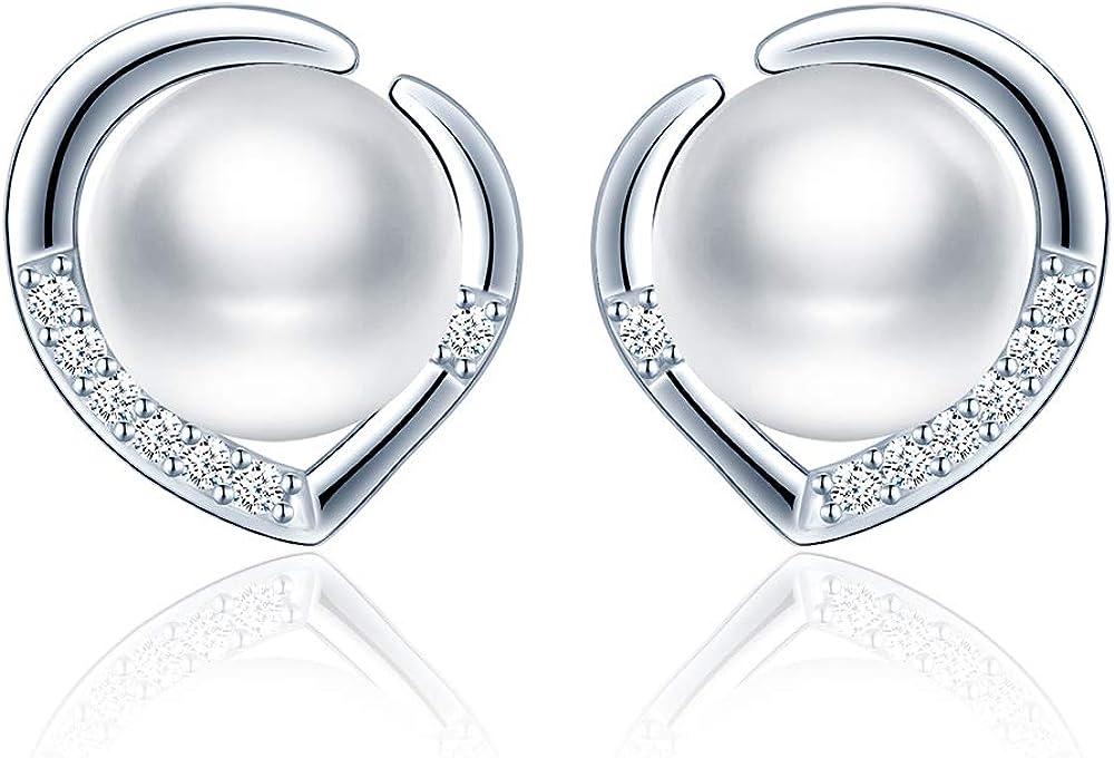 MicLee- Pendientes de Perlas Agua Dulce para Mujer Pendiente de Botón de Plata de Ley 925 Pendiente de Corazón Joyería Regalo del día de Madre con Caja de Regalo