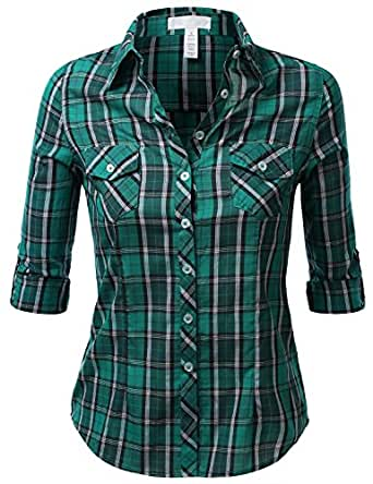 J.TOMSON Womens Long Sleeve Plaid Button Down Shirt GREEN SMALL