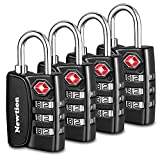 Newtion TSA Approved Luggage Travel Locks,Open Alert Indicator,3 Digit Combination Padlock Codes with Alloy Body for Travel Bag (Black 4Pack)