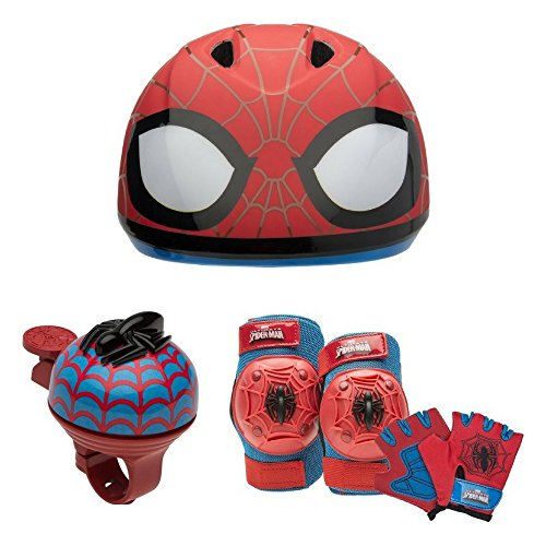 (Kids Bike Helmet, Safety Bell & Protective Pad and Glove Set, Bell Sports, Kids Bike Accessories, Toddler, Outdoor Play, Favorite Kids Character, Fun Activity (Choose Character) (Spider-Man))