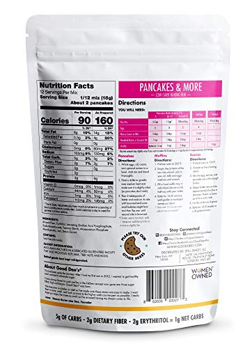 Good Dee's Pancake, Waffle & Scone Mix - Low Carb Keto Baking Mix (1g Net Carbs, 20 Pancakes)   Allulose Sweetened, Sugar-Free, Gluten-Free, Grain-Free & Soy-Free   Diabetic, Atkins & WW Friendly