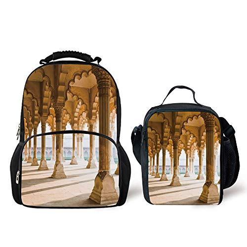 Iprint Schoolbags Lunch Bag Pillar Historical Theme Gallery Pillars At Agra Fort Ethnic Digital Image Decorative Light Coffee Beige Personality Pattern