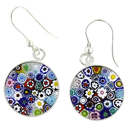 GlassOfVenice Murano Glass Millefiori Round Dangle Earrings – Silver