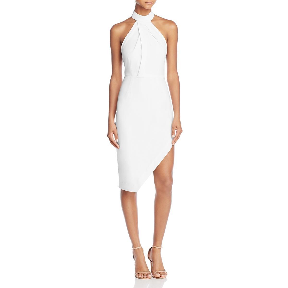 StyleStalker Womens Riscal Halter Sleeveless Cocktail Dress Ivory L