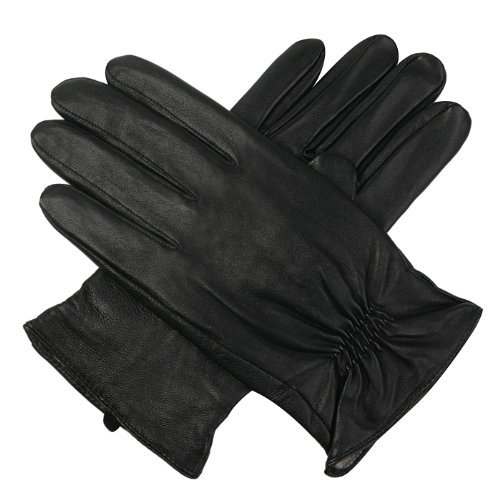 Luxury Lane Men's Cashmere Lined Lambskin Leather Gloves - Black S by Luxury Lane