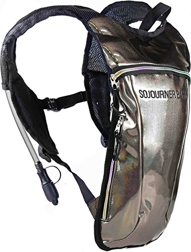 Sojourner Rave Hydration Pack Backpack – 2L Water Bladder Included for Festivals, Raves, Hiking, Biking, Climbing, Running (Glitter – Copper)