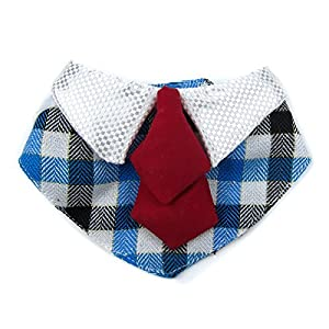 Alfie Pet by Petoga Couture - Morgan Bandana for Dogs and Cats - Color: Blue Plaid, Size: Large
