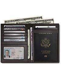 RFID Blocking Leather Passport Holder For Men and Women - Black