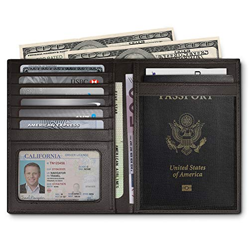 RFID Blocking Leather Passport Holder For Men and Women - ()