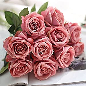 EOPER 6 Pack Artificial Fake Vintage Peony Silk Rose Flower Bush Bouquet for Home Kitchen Decor Wreath Wedding Centerpieces 84