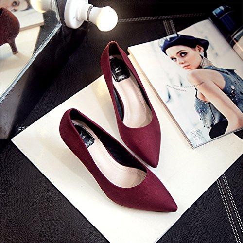 Xianshu Mujeres Verano Otoño Suede Media Tacones Bajos Boca Baja Zapatos Puntiagudos Bombas Vino rojo