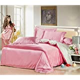 Luxury Bedding Collection Solid Color Icy Silk Satin Super Soft Skin-friendly Top Quality Hypoallergenic 4 Piece Bed Sheet Set Duvet Cover Flat Sheets Pillowcases Size Full Queen , 3 , full