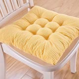 Office Chair Pads Set Soft Tufted Cotton Padded Seat Cushions With Ties Kitchen Dining Yellow