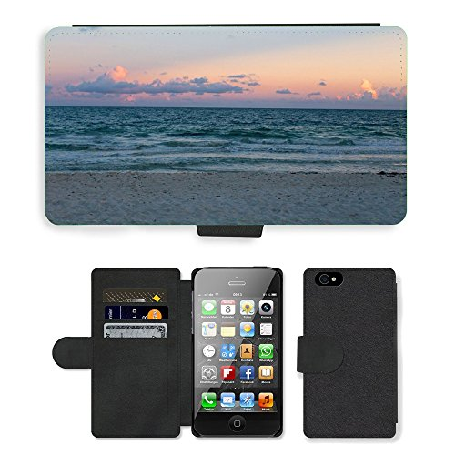 PU Leather Cover Custodia per // M00421744 Sunset Sky Sand Beach Ocean Shore // Apple iPhone 4 4S 4G