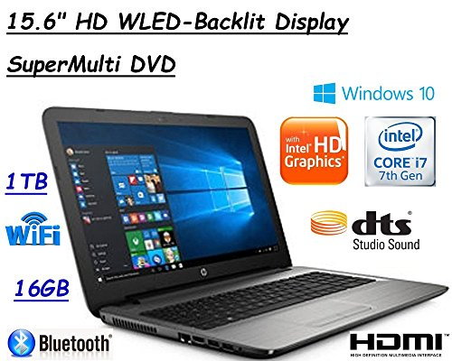 "Flagship Model HP 15.6"" Premium High Performance HD WLED-Backlit Laptop, Intel Core i7-7500U, 16GB RAM, 1TB HDD, SuperMulti DVD, Windows 10"