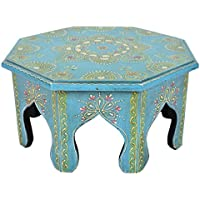 Rajasthani Handpained Work Design Vintage Round Wooden Puja Chowki Table 12 X 12 X 6 Inches