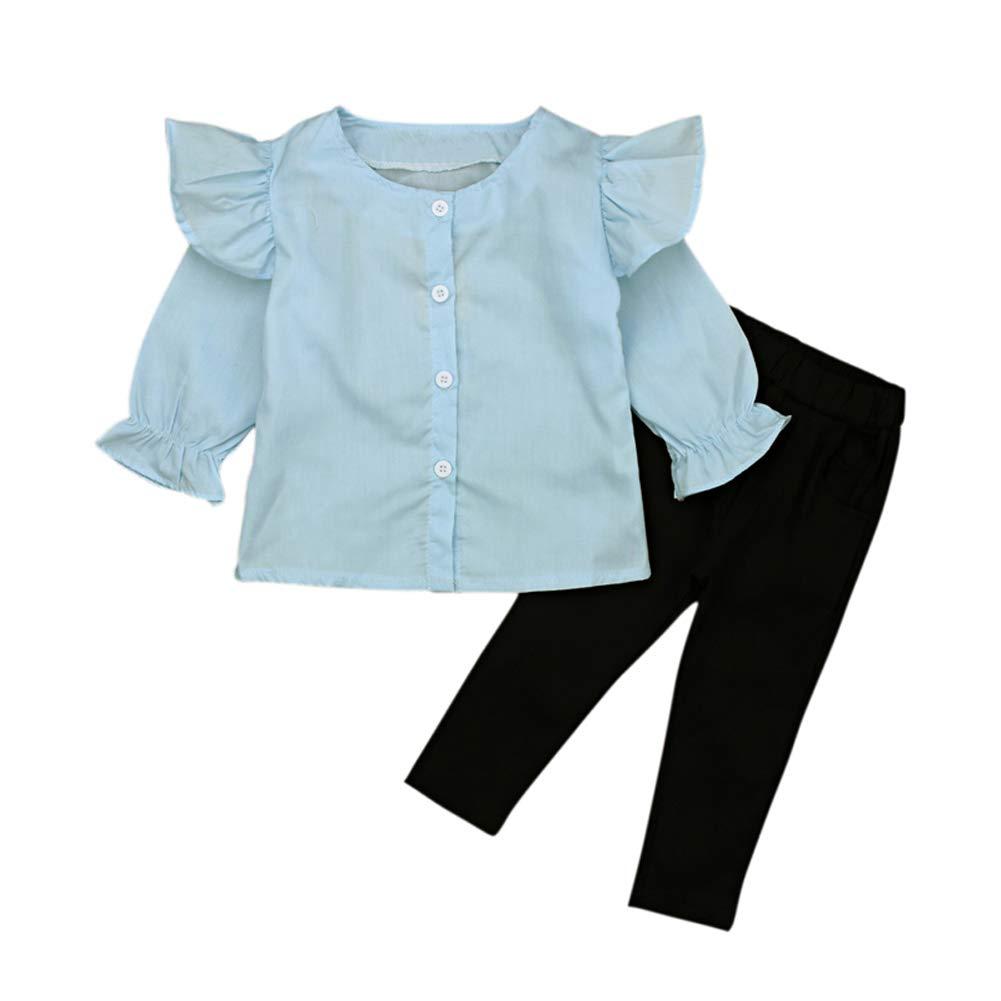 Girl Cotton Casual Long Flare Sleeve Top Shirt Blouse Long Black Pencil Pants 2Pcs Set