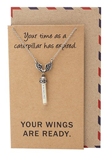 Quan Jewelry Angel Wing Necklace for Men and Women, Graduation Gifts, Mini Tiny Clear Glass Jars Bottle Angel Wings Cover, Inspirational Quote Cards, Silver Tone