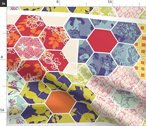 (Cheater Quilt Fabric - Cloth Quilt Cheater Quilt Spring Floral Hexagon Quilt Quilt Block Quilting by Bloomingwyldeiris Printed on Petal Signature Cotton Fabric by The Yard )