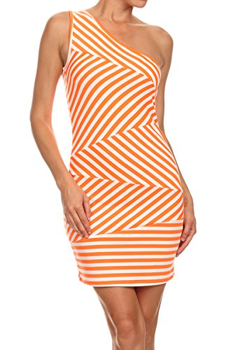 MeshMe Womens Abstract Stripes Striped Lines One Shoulder Sexy Bodycon (Flirtatious Stripe)