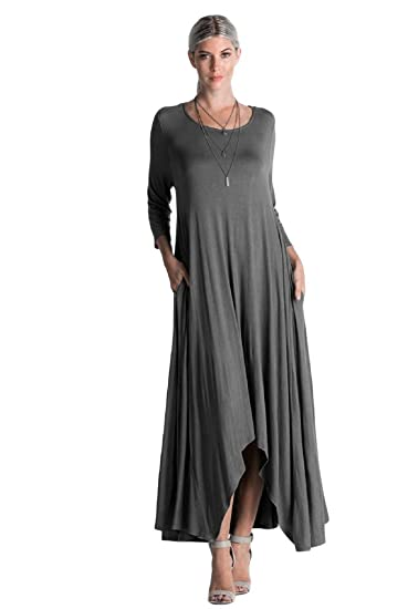 a881503bd7f Women's Long Loose Casual Asymmetrical Oversize Handkerchief Hem Jersey  Maxi Dress (Made in The USA)