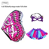 Kids Fairy Butterfly Wings Costume for Girls with Mask Rainbow Tutu Skirt Set Princess Dress Up Party Favors (Rose)