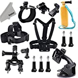 Kupton GoPro Accessories Head Strap Chest Harness Wrist Band Vehicle Suction Cup Bicycle Handlebar Floating Grip Bobber Extendable Handheld Monopod Stick Carrying Case GoPro Battery for GoPro Hero 4 Session Hero 4 3+ 3 2 SJ4000 SJ5000 Action Camera with Kupton Superfine Fiber Cloth ¡­